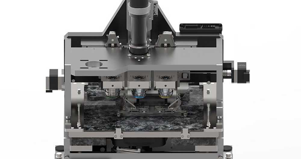 Robust antivibration granite base and dual slide stage for maximum stability and image quality
